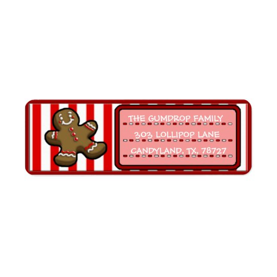 Custom Cute Christmas Gingerbread Return Labels