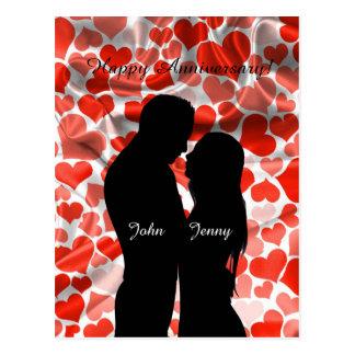 Custom Cute Couple Silhouette Hearts Anniversary Postcard