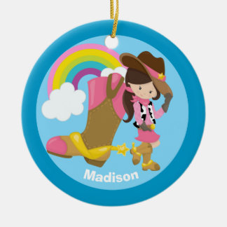 Custom Cute Cowgirl Christmas Ornament
