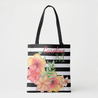 Custom Cute Floral Watercolor Fun Stripes Pattern Tote Bag