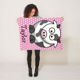 Custom Cute Funny Cartoon Cow Fleece Blanket