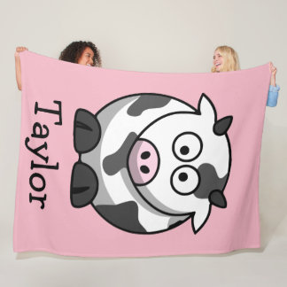 Custom Cute Funny Cartoon Cow Fleece Blanket