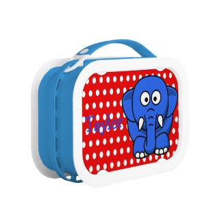 Custom Cute Funny Cartoon Elephant Red Polka Dot Lunch Box