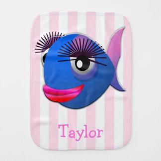 Custom Cute Funny Cartoon Fish Burp Cloth