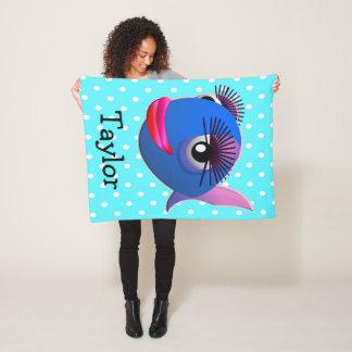 Custom Cute Funny Cartoon Fish Fleece Blanket