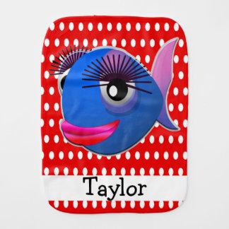 Custom Cute Funny Cartoon Fish Red Polka Dot Burp Cloth