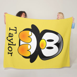 Custom Cute Funny Cartoon Penguin Fleece Blanket