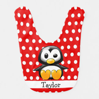 Custom Cute Funny Cartoon Penguin Red Polka Dot Bib