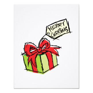 Custom Cute  Gift Box with Merry Christmas Tag 11 Cm X 14 Cm Invitation Card