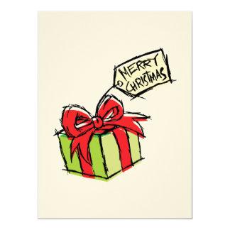 Custom Cute  Gift Box with Merry Christmas Tag 17 Cm X 22 Cm Invitation Card