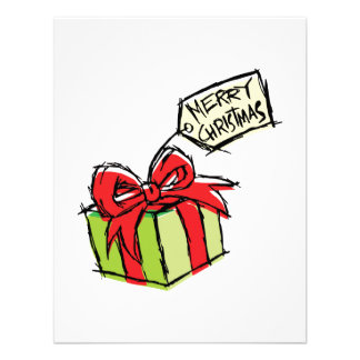 Custom Cute  Gift Box with Merry Christmas Tag Personalized Announcement