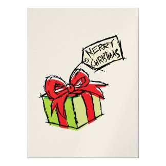 Custom Cute  Gift Box with Merry Christmas Tag 6.5x8.75 Paper Invitation Card