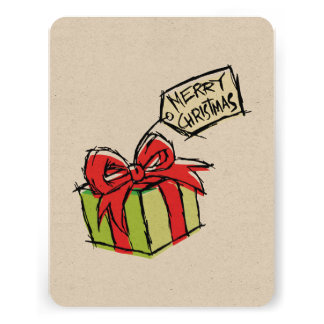 Custom Cute  Gift Box with Merry Christmas Tag Custom Announcements