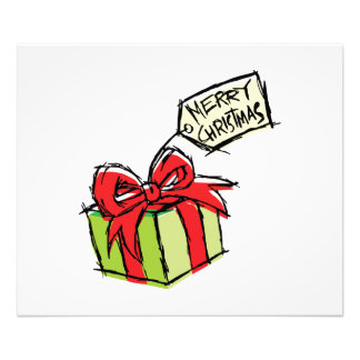 Custom Cute  Gift Box with Merry Christmas Tag Art Photo
