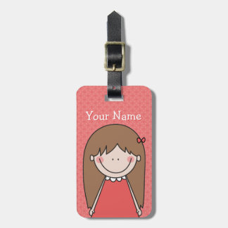 Custom Cute Girl / Name Red Bag Tag