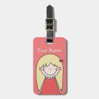 Custom Cute Girl / Name Red Luggage Tag