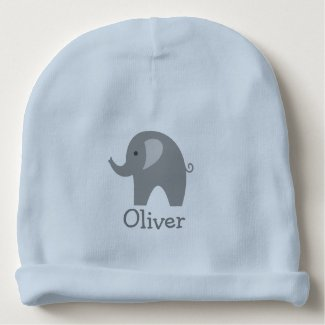 Custom cute grey elephant blue boy baby beanie hat