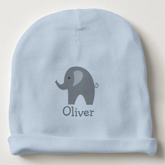 Custom cute grey elephant blue boy baby beanie