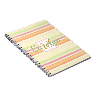 Custom Cute Happy Sunny Summer Watercolor Stripes Notebook