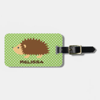Custom cute hedgehog travel luggage tag for kids