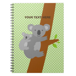Custom cute koala bear polka dots notebook