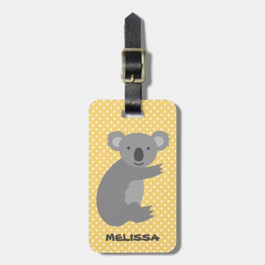 Custom cute koala bear travel luggage tag for