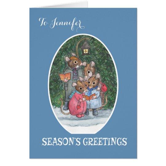 Custom Cute Mice Carol Singers Christmas Card