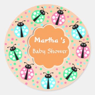 Custom Cute Modern Girl Baby Shower Favor Sticker