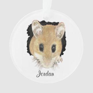 Custom Cute Mouse Peeking Out Watercolor art Ornament