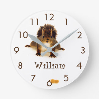 Custom cute nosy red squirrel in snow clocks
