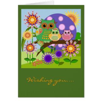 Custom Cute Owls Floral Birthday card w Text