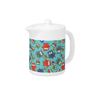 Custom Cute Owls Teapot, Red and Blue on Turquoise