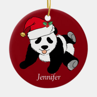 Custom Cute Panda Bear Kids Red Christmas Ornament