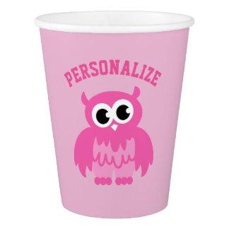 Custom cute pink owl girls birthday party cups