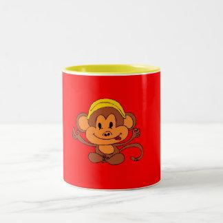 Custom Cute Playful Monkey with Banana Two-Tone Mug