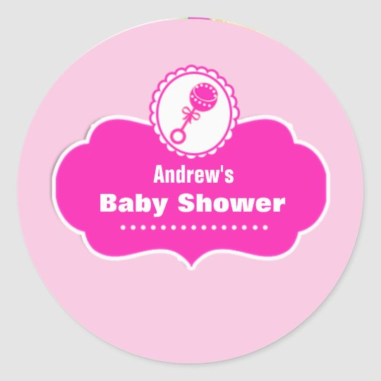Custom Cute Rattle Baby Shower Favour Sticker