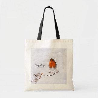 Custom cute Robin bird in snow add name
