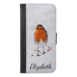 Custom cute Robin bird in snow add name iPhone 6/6s Plus Wallet Case