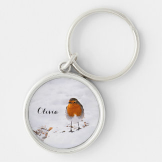 Custom cute Robin bird in snow add name Key Ring