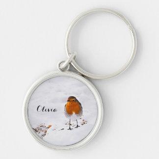 Custom cute Robin bird in snow add name Key Ring