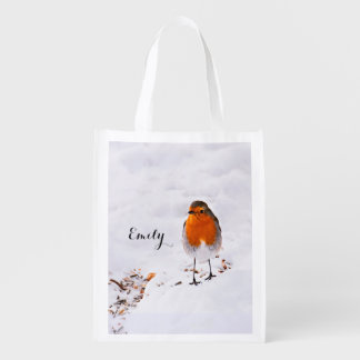 Custom cute Robin bird in snow add name Reusable Grocery Bag