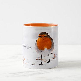 Custom cute Robin bird in snow add name Two-Tone Coffee Mug