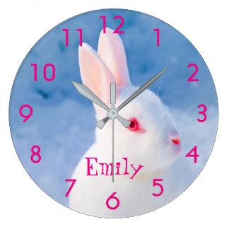 Custom cute white rabbit on blue snow background clock