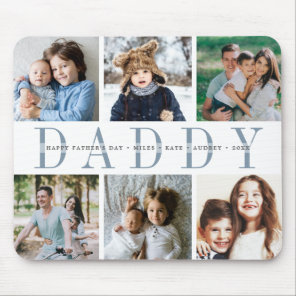 Custom Daddy Photo Collage & Kids Names Mouse Mat