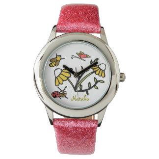 Custom Daisy Kid's Pink Glitter Strap Watch