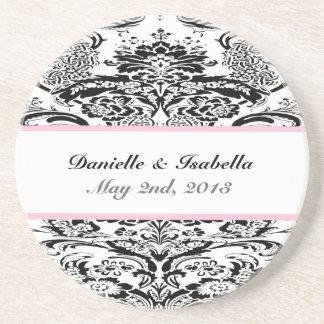 Custom Damask Wedding Coaster