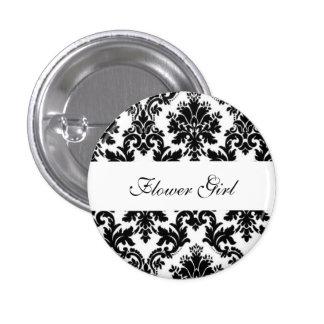 Custom Damask Wedding Flower Girl Buttons