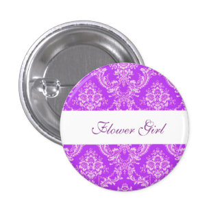 Custom Damask Wedding Flower Girl Buttons