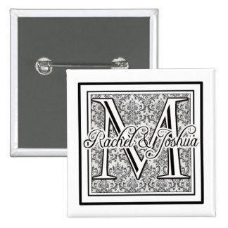 Custom damask wedding logo 15 cm square badge
