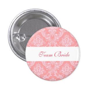 Custom Damask Wedding Team Bride Buttons